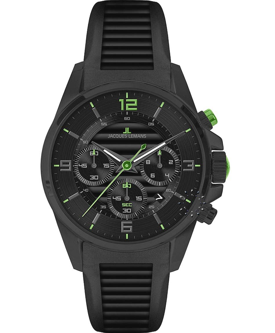 Jacques LEMANS Liverpool Chronograph All Black Rubber Strap Μοντέλο: 1-1672F Τιμή: 245€ http://www.oroloi.gr/product_info.php?products_id=31268