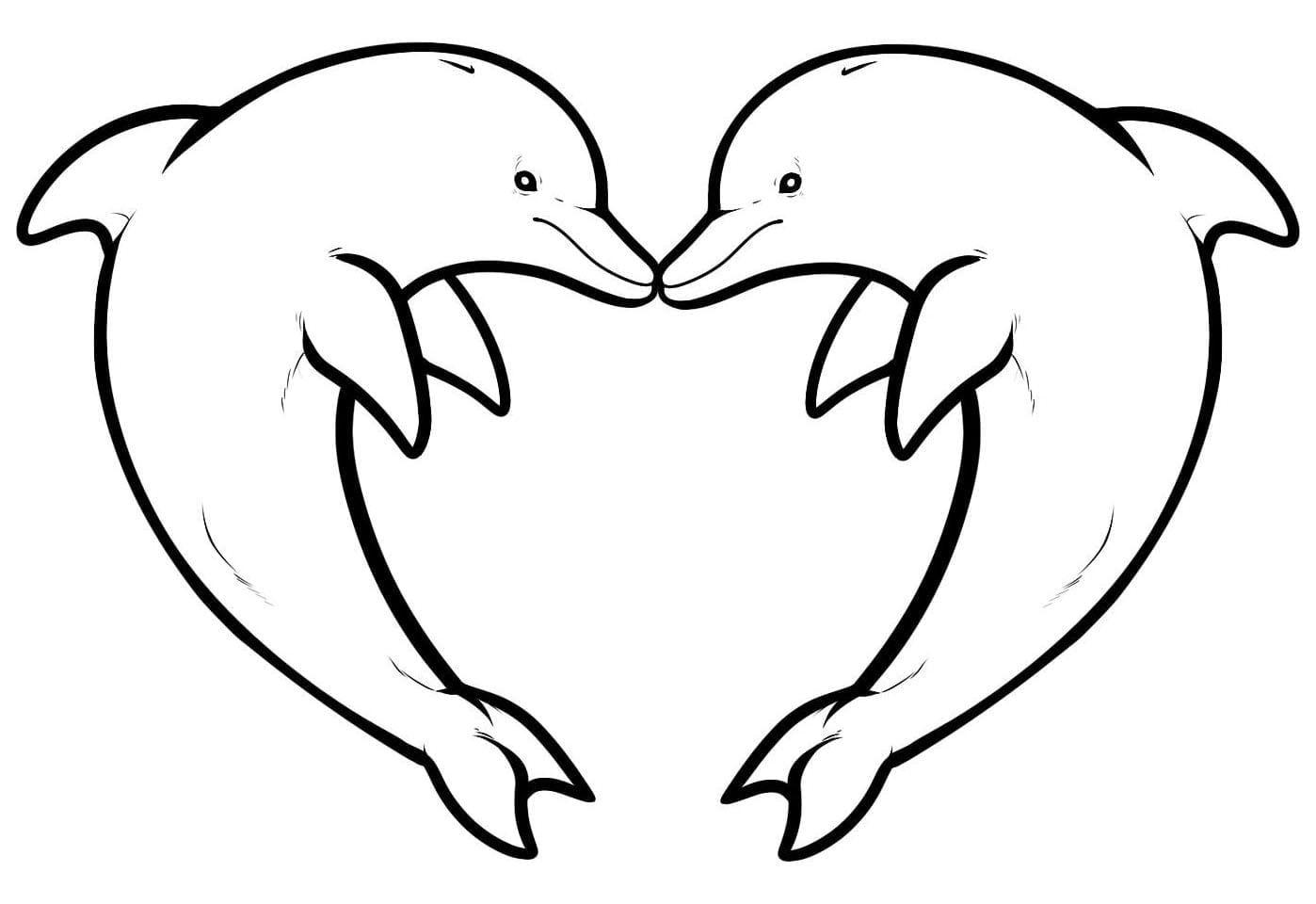 Twee Dolfijnen Kleurplaten Voor Volwassenen Gratis Kleurplaten Hart Tekening