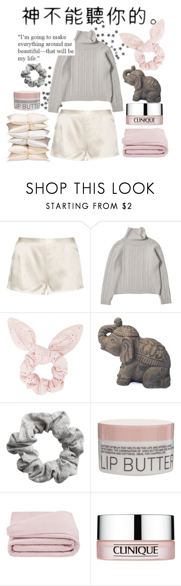 """Stay at home."" by rocio-kim ❤ liked on Polyvore featuring La Perla, Topshop, H&M, Korres, Frette and Clinique"