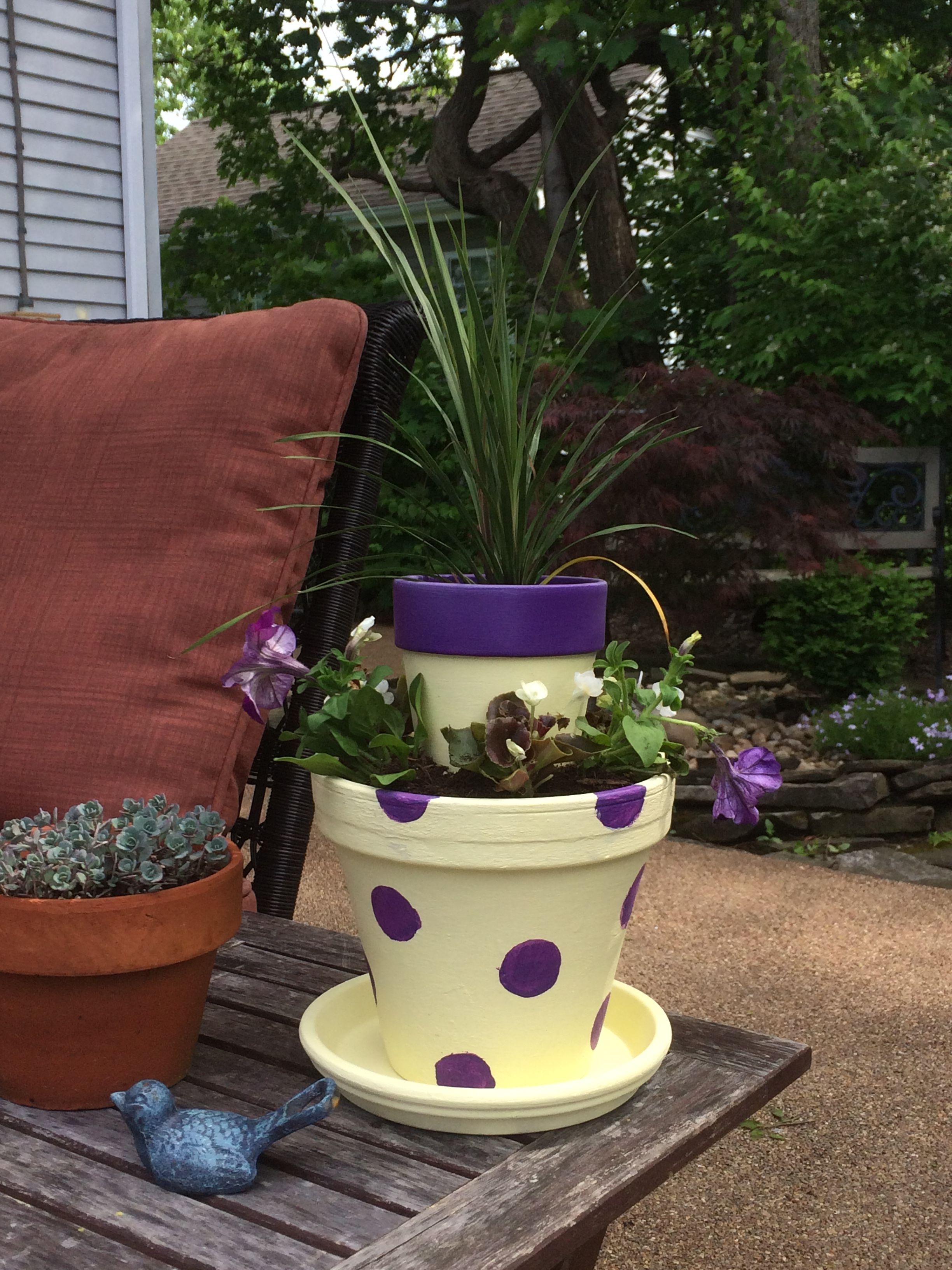 Two Tier Flower Pot Bloom Carroll Bulldogs School Colors Stacked Flower Pots Flower Pots Planter Pots