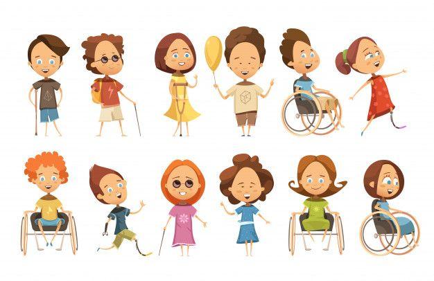 Ensemble D Enfants Handicapes En Fauteuil Roulant Avec Bequilles Et Protheses Aveugles Fauteuil Roulant Bequilles Et Illustration