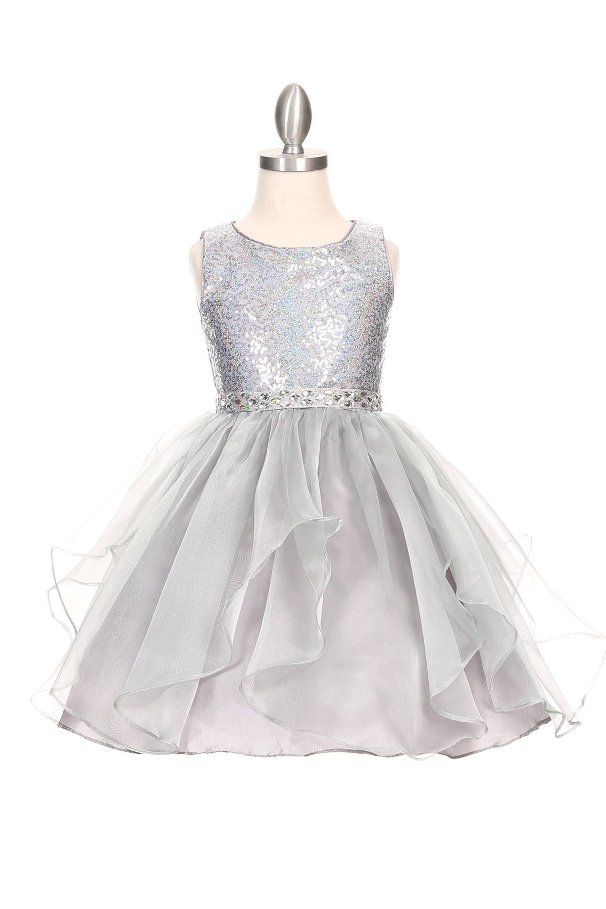 Girls Dress Style 1207 - Sleveeless Organza Sequin Dress in Choice of Color  If you are looking for sparkle this dress is it. This dress is such a cute style and so much fun for any occasion. The bodice on this dress has beautiful sequin detailing and the waist is accented with a gorgeous detachable rhinestone sash.  http://www.flowergirldressforless.com/mm5/merchant.mvc?Screen=PROD&Product_Code=CC_1207SV&Store_Code=Flower-Girl&Category_Code=New