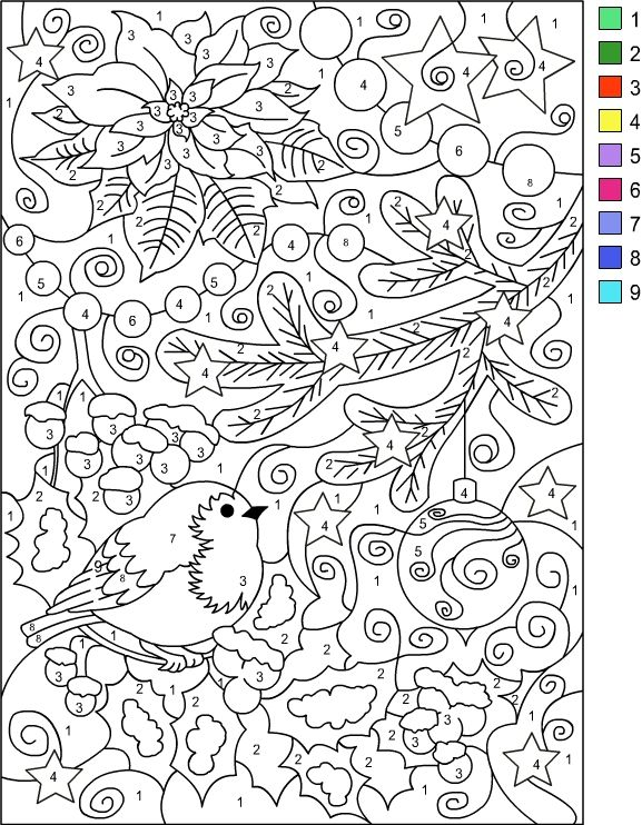 Nicoles Free Coloring Pages COLOR BY NUMBER WINTER Page