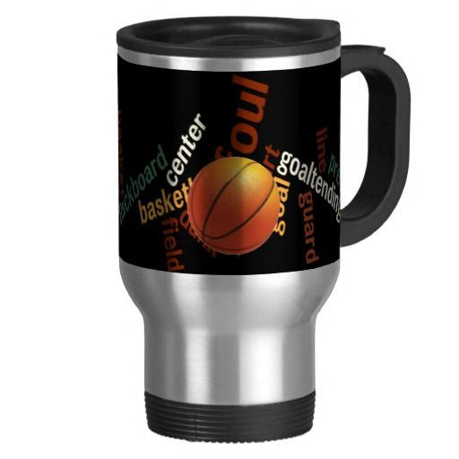 Hoops Basketball Sport Fanatics.jpg Mug Travel/Commuter Mug  Your commute starts with style as you hit the streets with this stainless steel travel/commuter mug, personalised with your favourite graphics or text. It's spill-proof and has a removable plastic top. Hand wash only