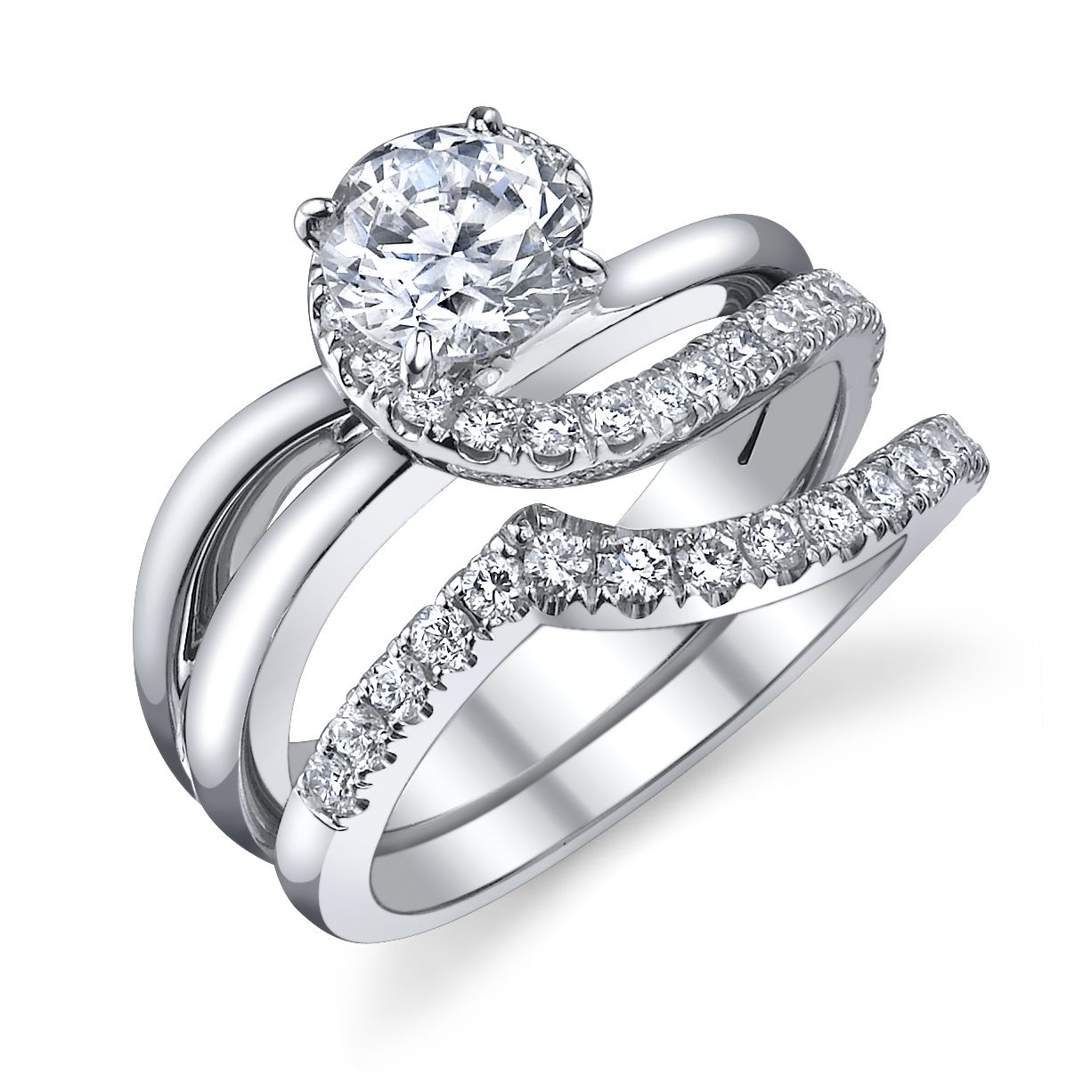 18k white gold and diamond wedding set. Call or email for