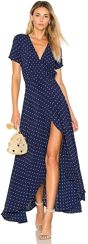 b1205151959 AUGUSTE Lily Wrap Maxi Dress Classic Polka Dot in Navy