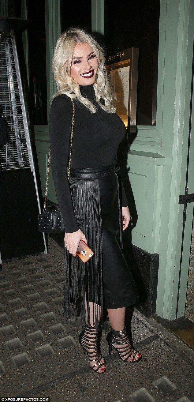 Busty chloe sims looks sassy leather skirt for dinner in london