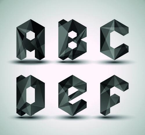 Alphabet letter Black Geometry vector set 02   psd   Pinterest ...