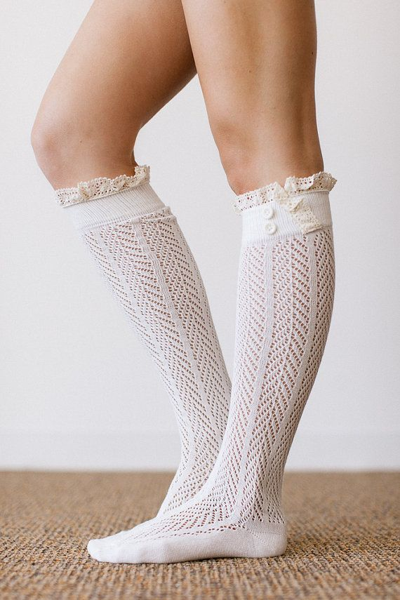 IVORY Lace Boot Socks Stretchy Over the Knee Knit Boot Socks With ...