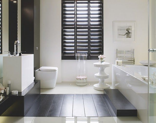 Black plantation shutters living room pinterest for Decorating with plantation shutters