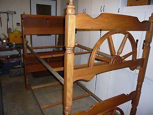 Genial Western Bunk Beds 1960 Mission Oak Bookcase Bunkbed Set Twin Wagon Wheel