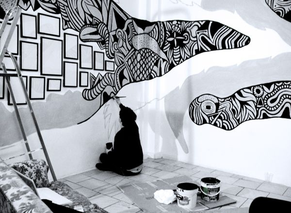 Gallery For Painted Wall Murals Black And White