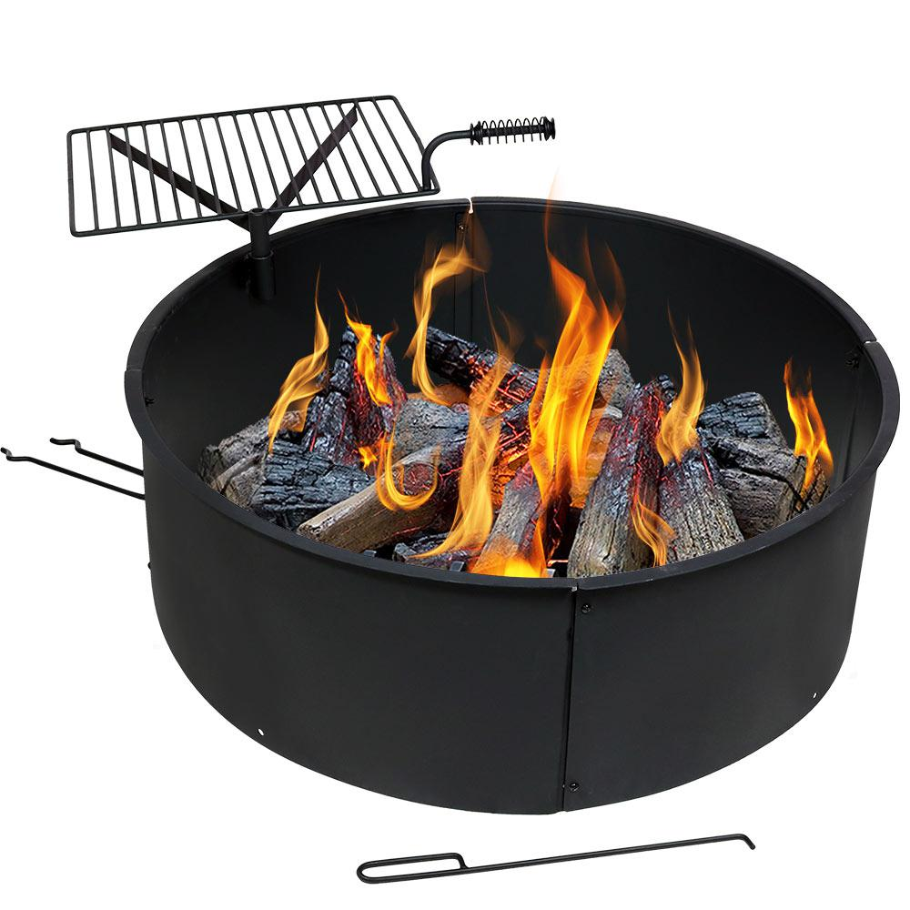 36 In Round Steel Wood Burning Fire Pit Kit With Rotating Cooking