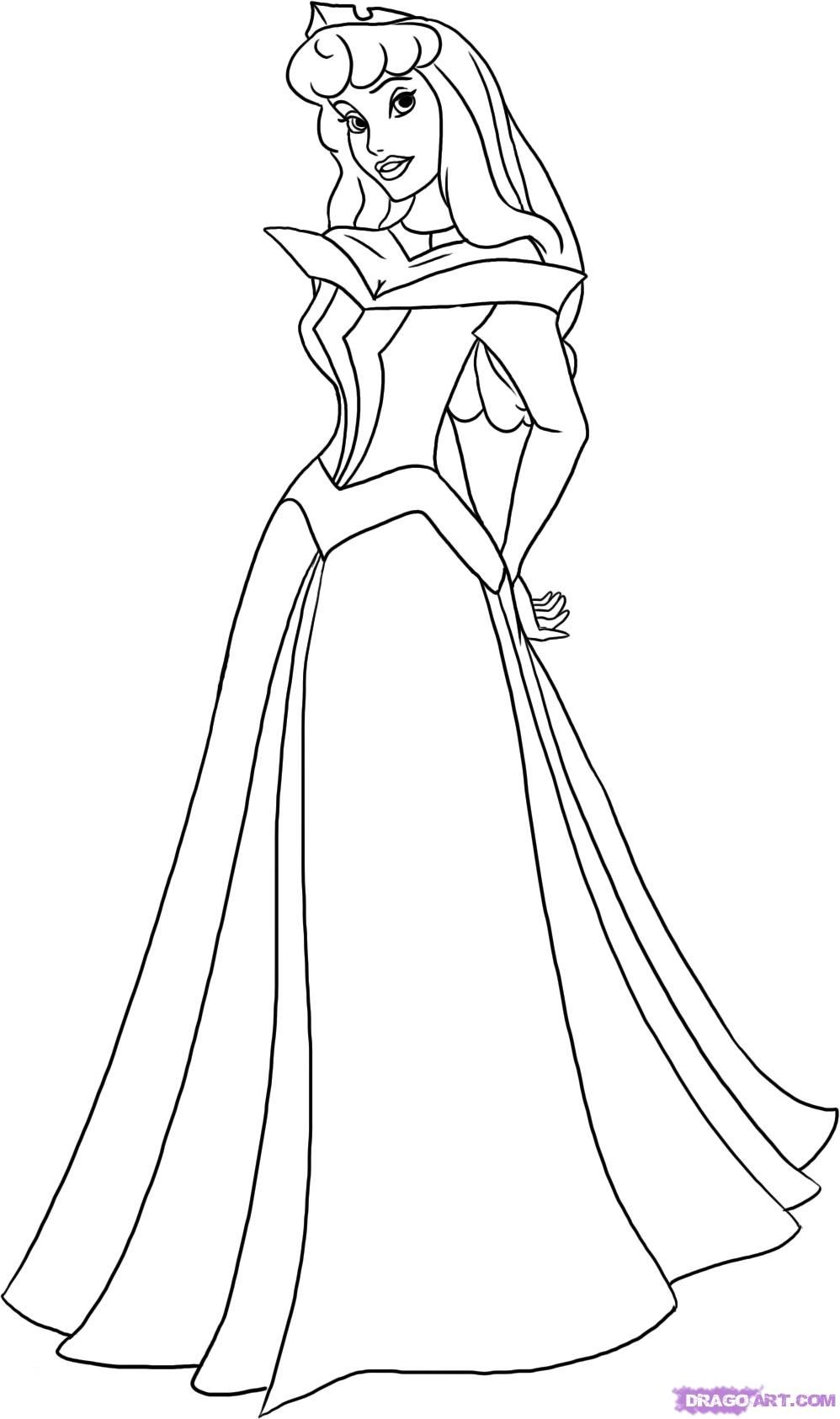 how to draw sleeping beauty princess aurora step 5 tekenen