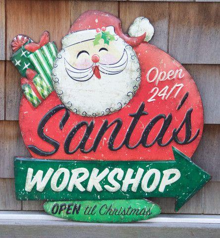 Santas Workshop Open OPEN Til Christmas X Shop Retro Decorations Now