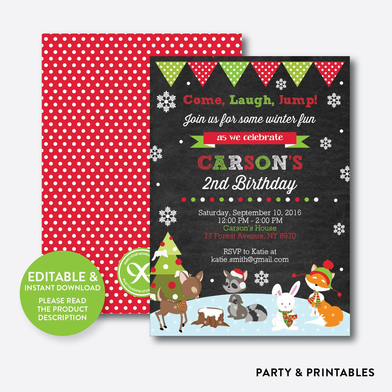 Barnyard Chalkboard Kids Birthday Invitation Editable Instant