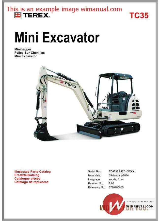 Terex Mini Excavator Tc35 Parts Manuals
