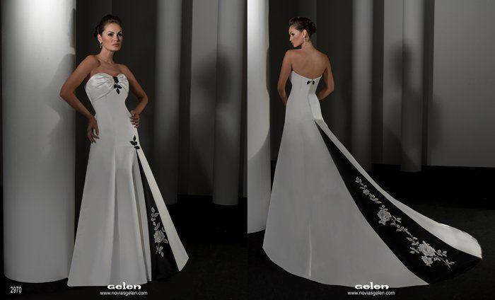 Vestido novia negro y blanco