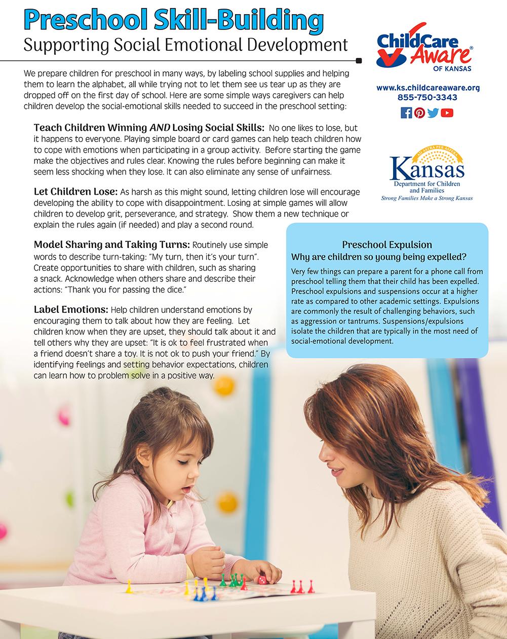 Preschool Skill Building Social Emotional Development Child Care Aware Emotional Development