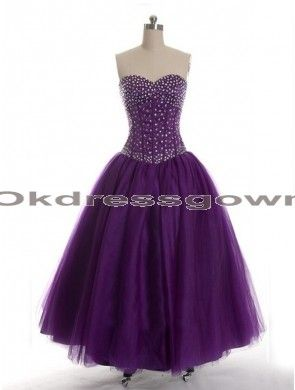 purple sweetheart A-line tulle long prom dress with crystals