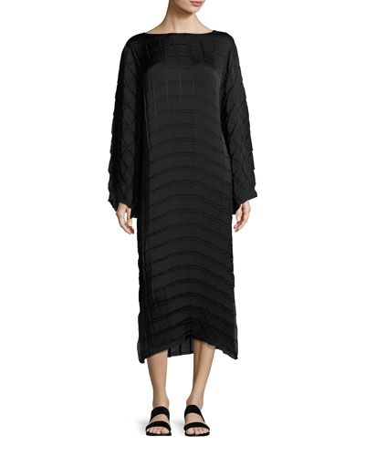 Melanie Pleated Crepe Midi Dress, Black
