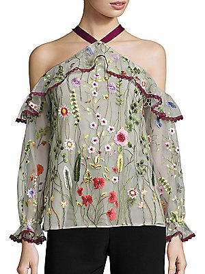 9ad77eca37a2b Alexis Kylie Embroidered Cold-Shoulder Top