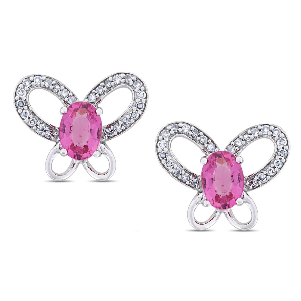 Miadora 14k White Gold Pink Tourmaline and 1/4ct TDW Diamond Earrings (G-H, I1-I2) | Overstock.com Shopping - The Best Deals on Gemstone Ear...