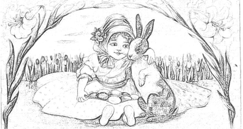 Girl Hugging Bunny Easter Drawings Easter Coloring Pages Coloring Pages