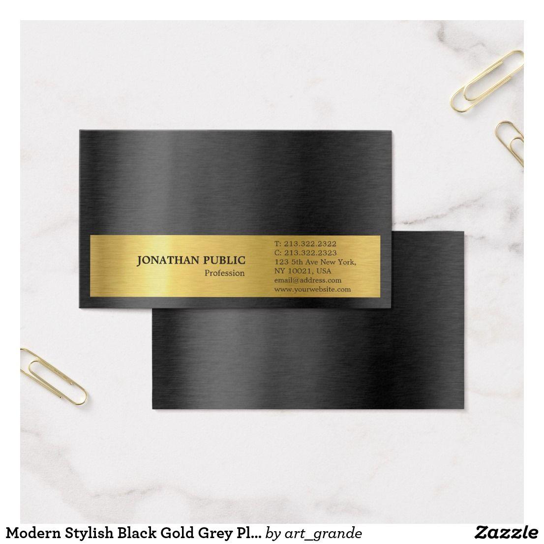 Modern Stylish Black Gold Grey Plain Silk Finish Business Card ...