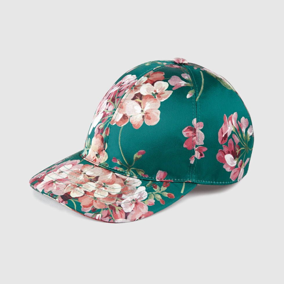 Gucci Green Blooms Print silk baseball hat  455.00  58cb690e3e2