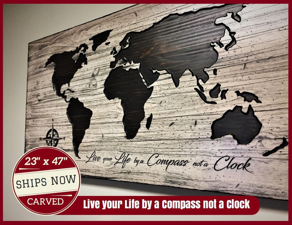 23 x 47 world map decor live your live by a compass not a clock 23 x 47 world map decor live your live by a compass not a clock gumiabroncs Images