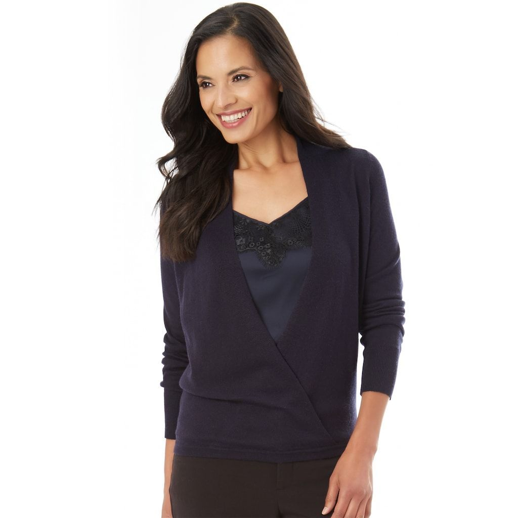 Women's Apt. 9® Faux-Wrap Sweater, Size: XLrg Av/Rg, Beige | Products