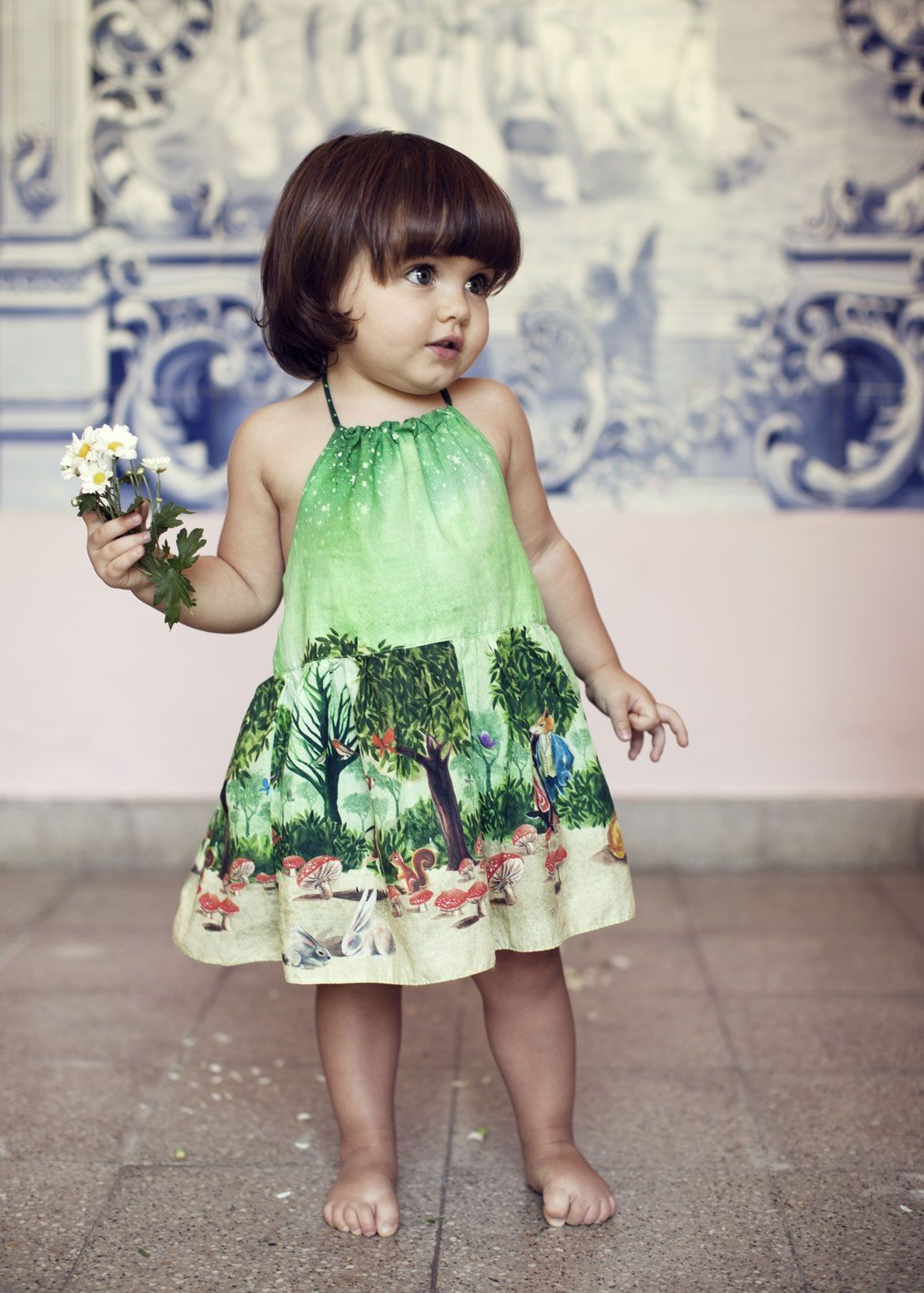 Green dress baby images  couture kids childrens fashion style baby girl summer printed green