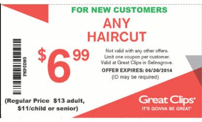 Discount haircut coupons