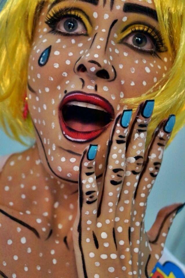 fassenacht karneval pop art makeup cartoon maskenbildner pinterest karneval schminken. Black Bedroom Furniture Sets. Home Design Ideas