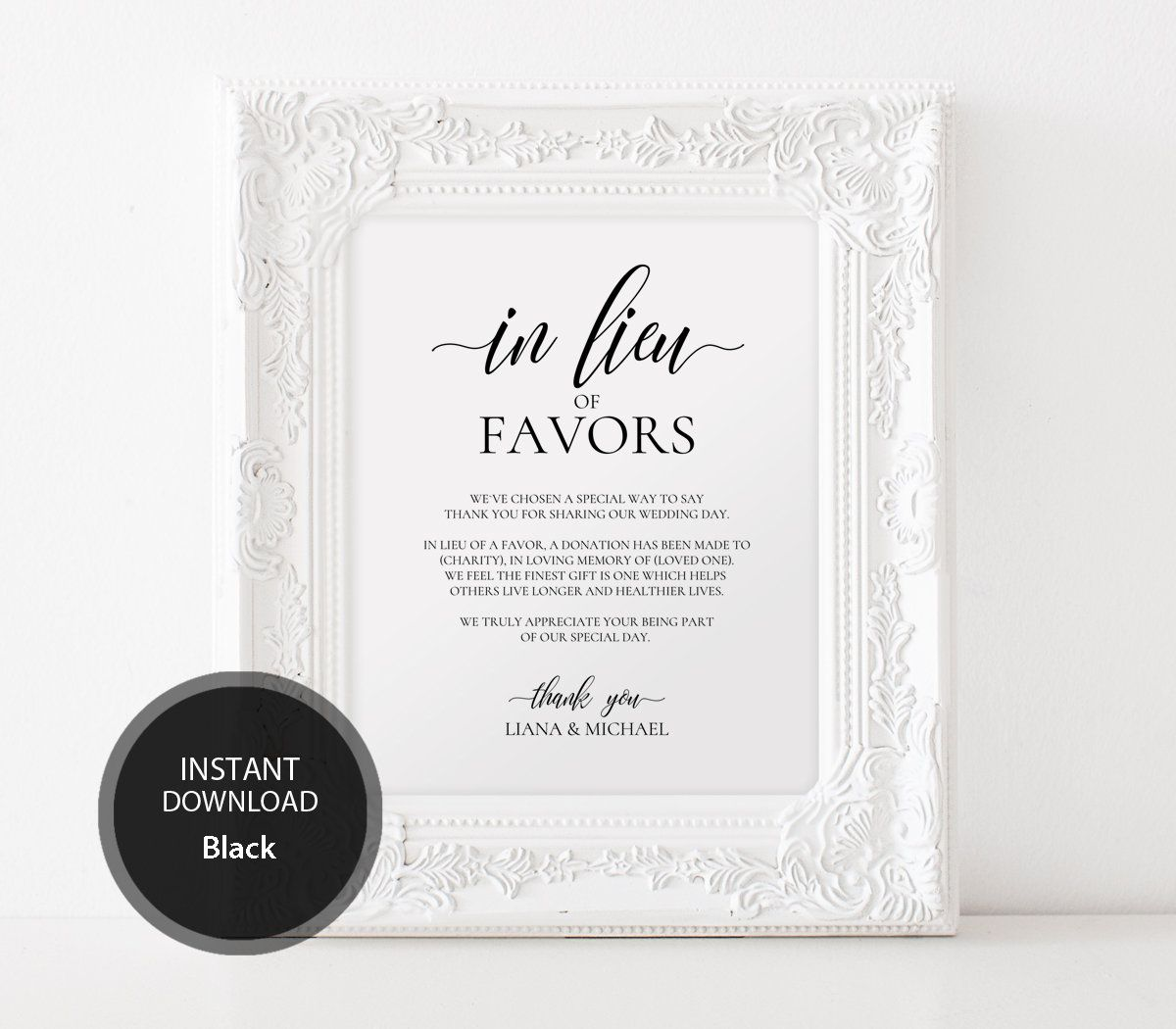 Editable PDF Template 8x10 In Lieu of Favors Favours Sign INSTANT ...