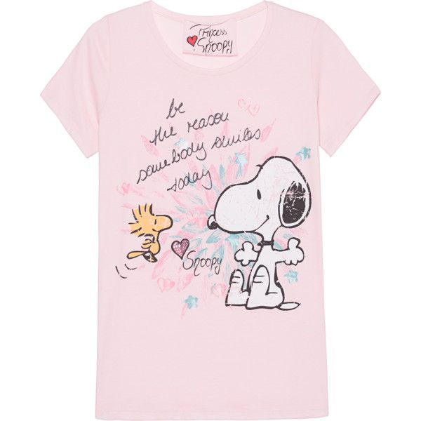 Princess Goes Hollywood Snoopy Smile Today Rose Cotton T Shirt With 475 Vef Liked On Polyvore Featuring Tops T Shirts Pink Tee Jersey T Shirts Gli