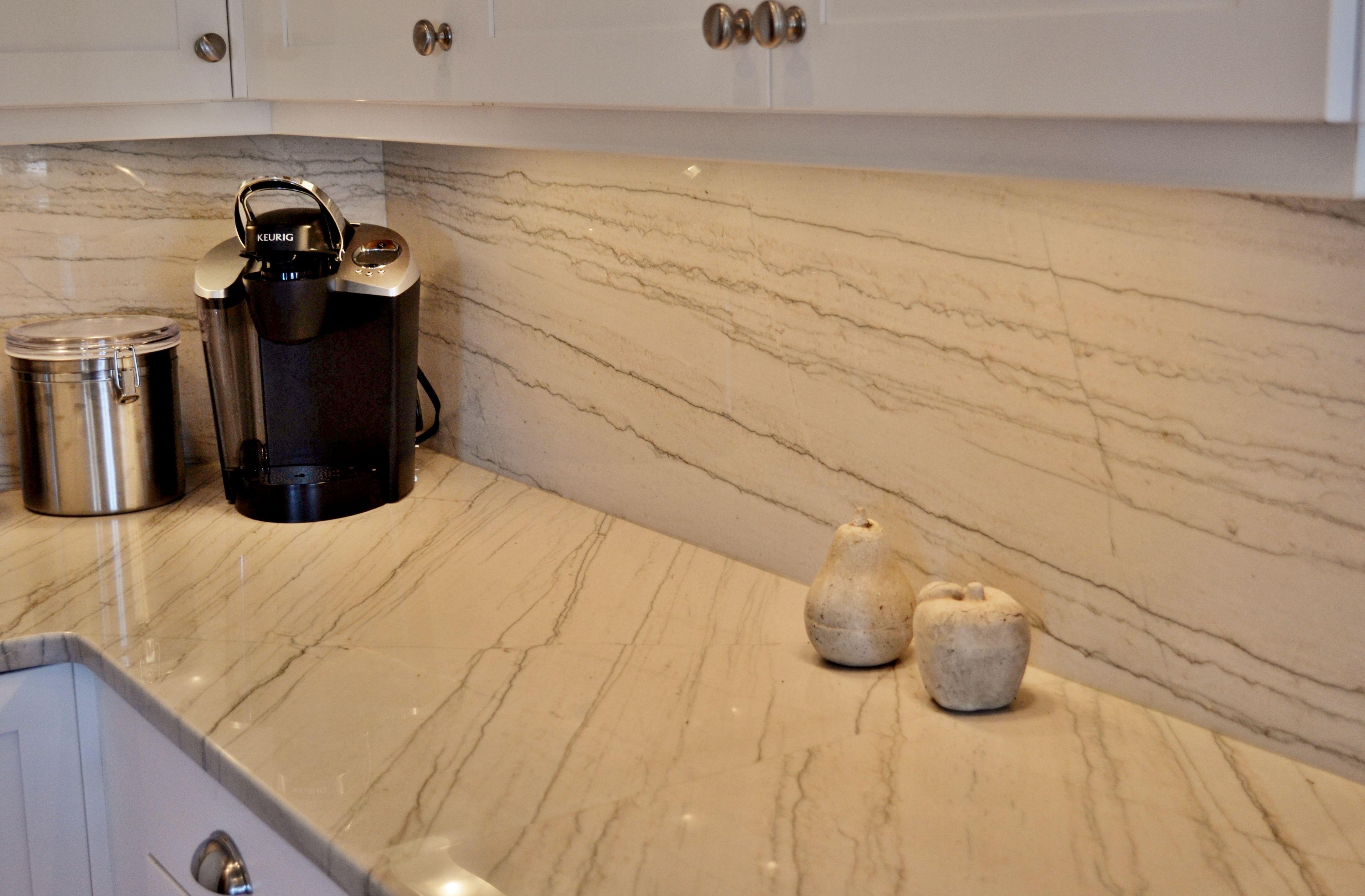 - White Macaubas Quartzite Countertops And Full Height Backsplash