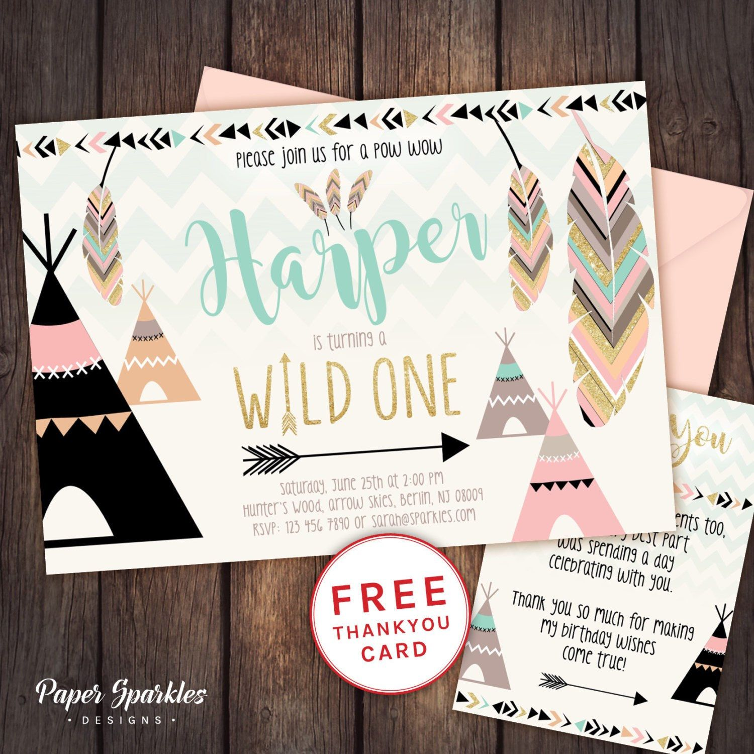 Wild one design available in 3 colour schemes comes with free available in 3 colour schemes comes with free thank you card design customised to your details stopboris Choice Image