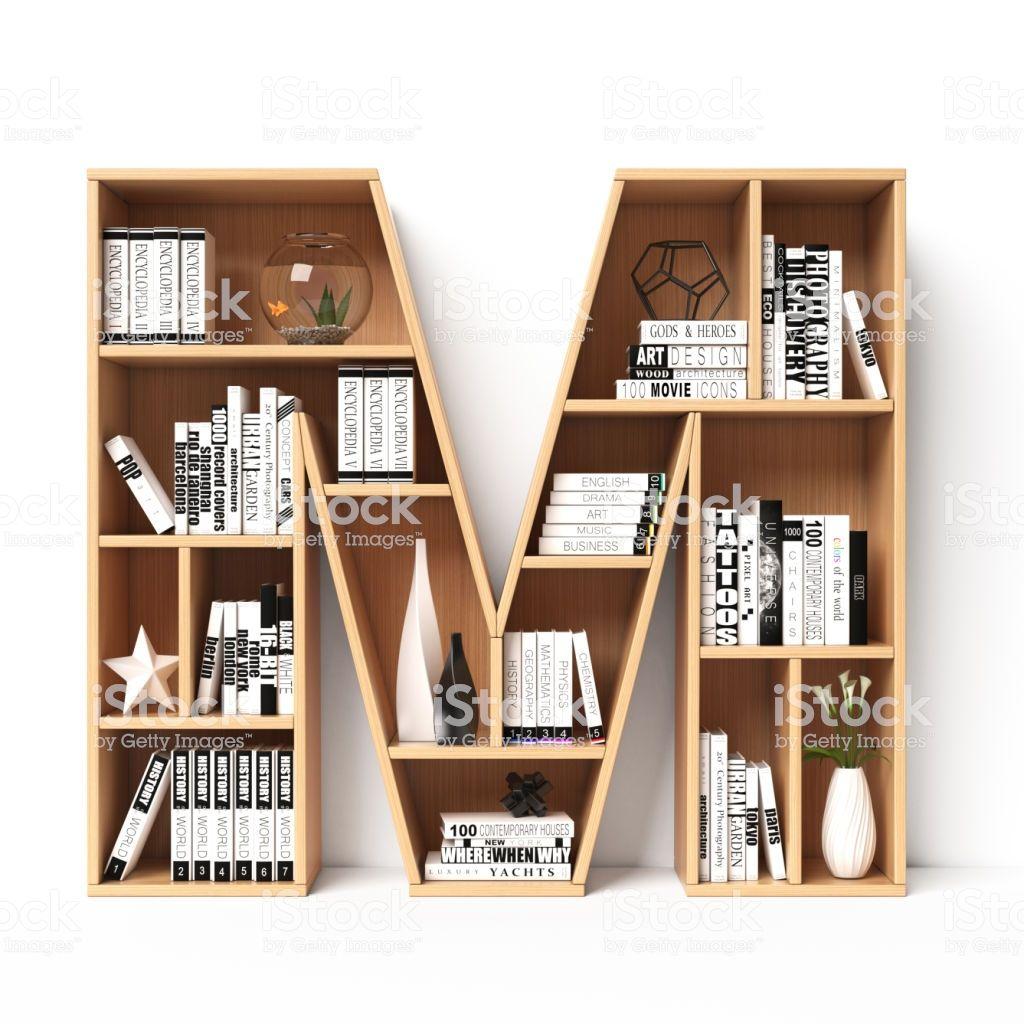 Bookshelves 3d Font Alphabet In The Form Of Book Shelves Mockup Creative Bookshelves Bookshelf Decor Bookcase Decor