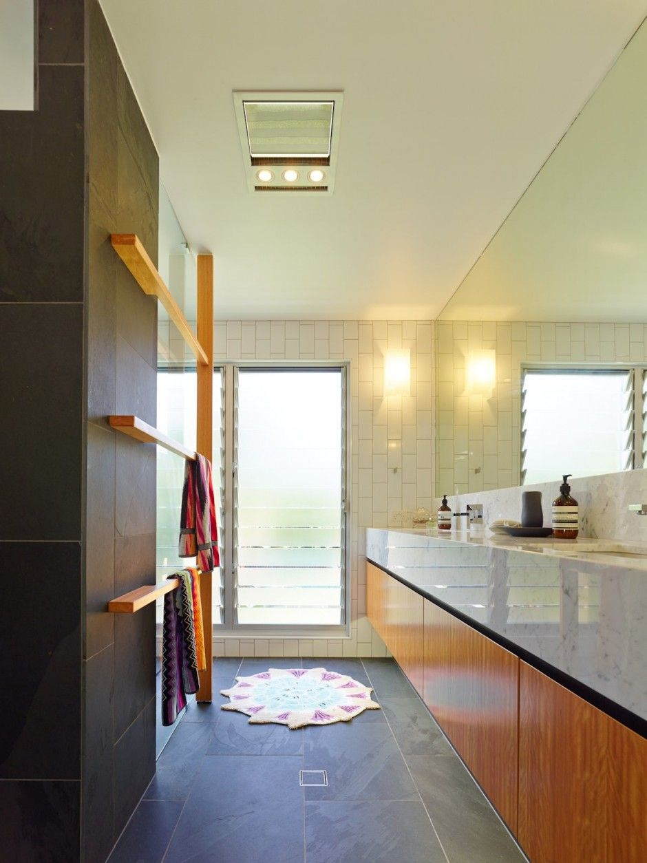 Wood Vanity Deep Marble Counter Black Slate Tile Floor Vertically - Remove moisture from bathroom
