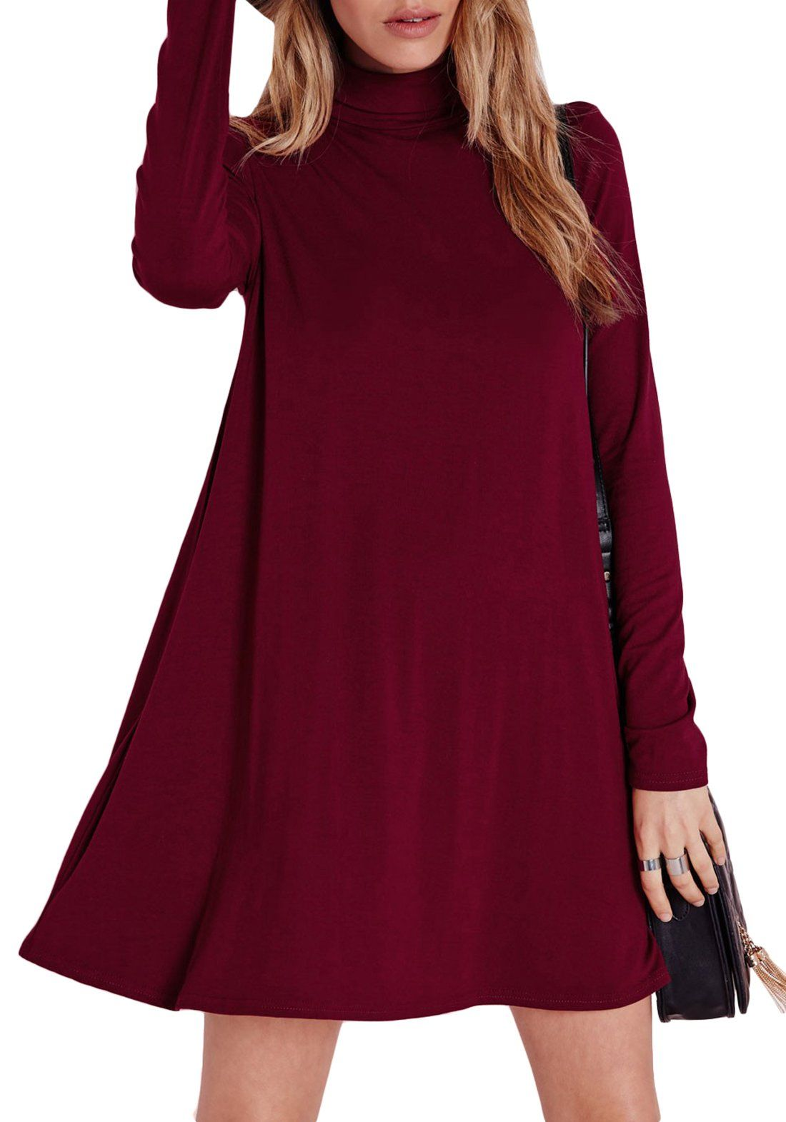 ecd26335faf7 SheIn Women s Wine Red Long Sleeve Casual Dress (Large
