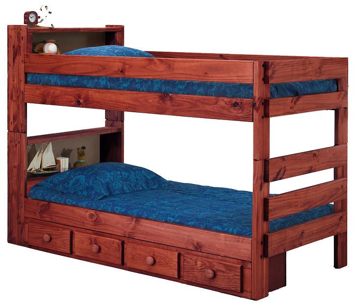 Jericho Extra Long Twin Over Twin Bookcase Bunk Bed Mahogany