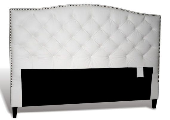 King Size White Genuine Leather Diamond Tufted Headboard With Pewter Nail Heads Diamond Tufted Headboard Leather Headboard Tufted Headboard