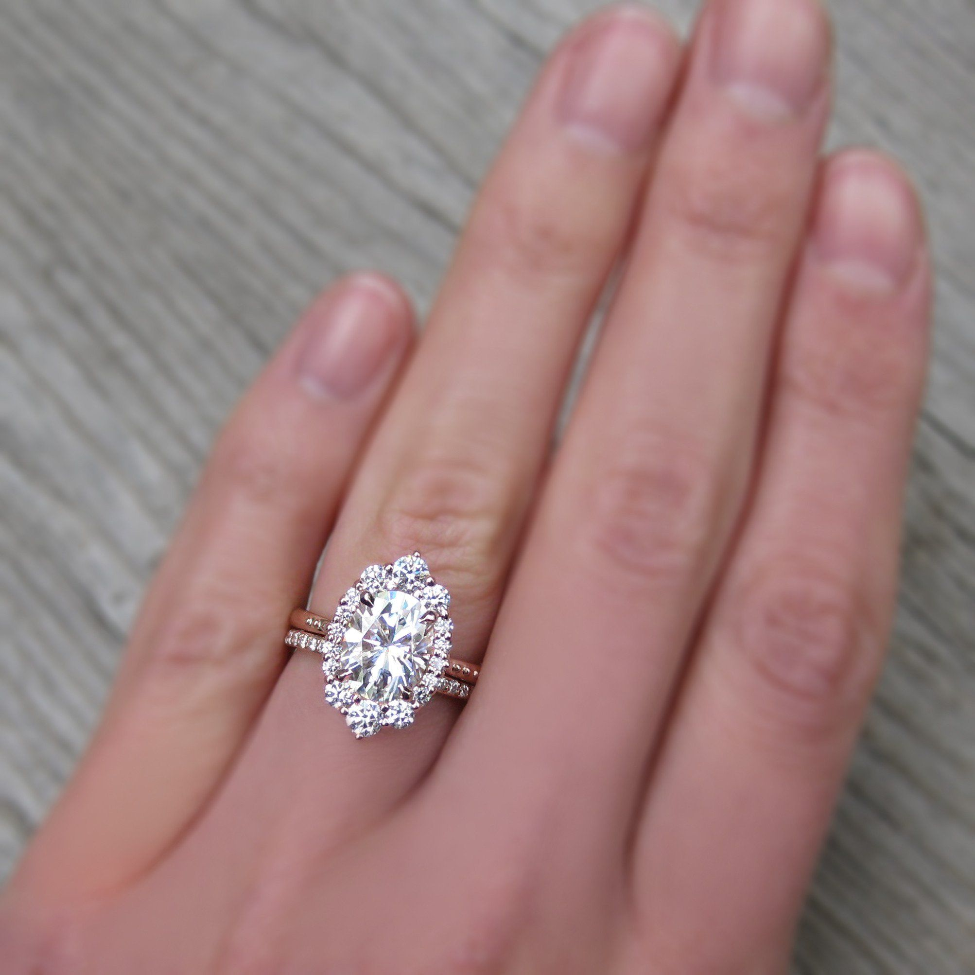Oval Forever One™ Moissanite Engagement Ring with Diamond Halo (2.65 ...