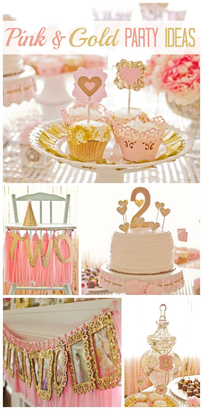 A Sophisticated And Girlie 2nd Birthday Party Decorated In Pink Gold With Lovely Photo Display See More Ideas At CatchMyParty