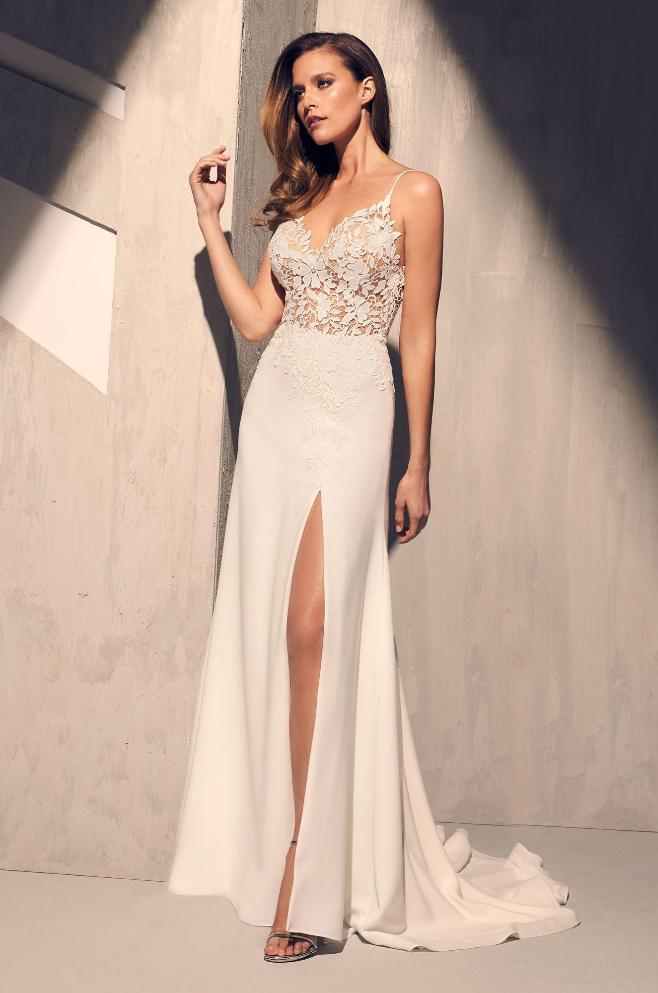 Sheer floral bodice wedding dress style love gala