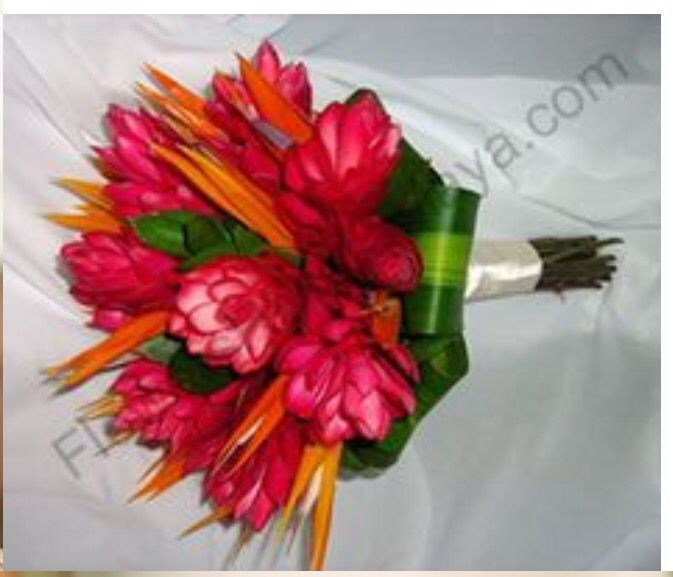 Brides bouquet with red and pink fijian ginger flower