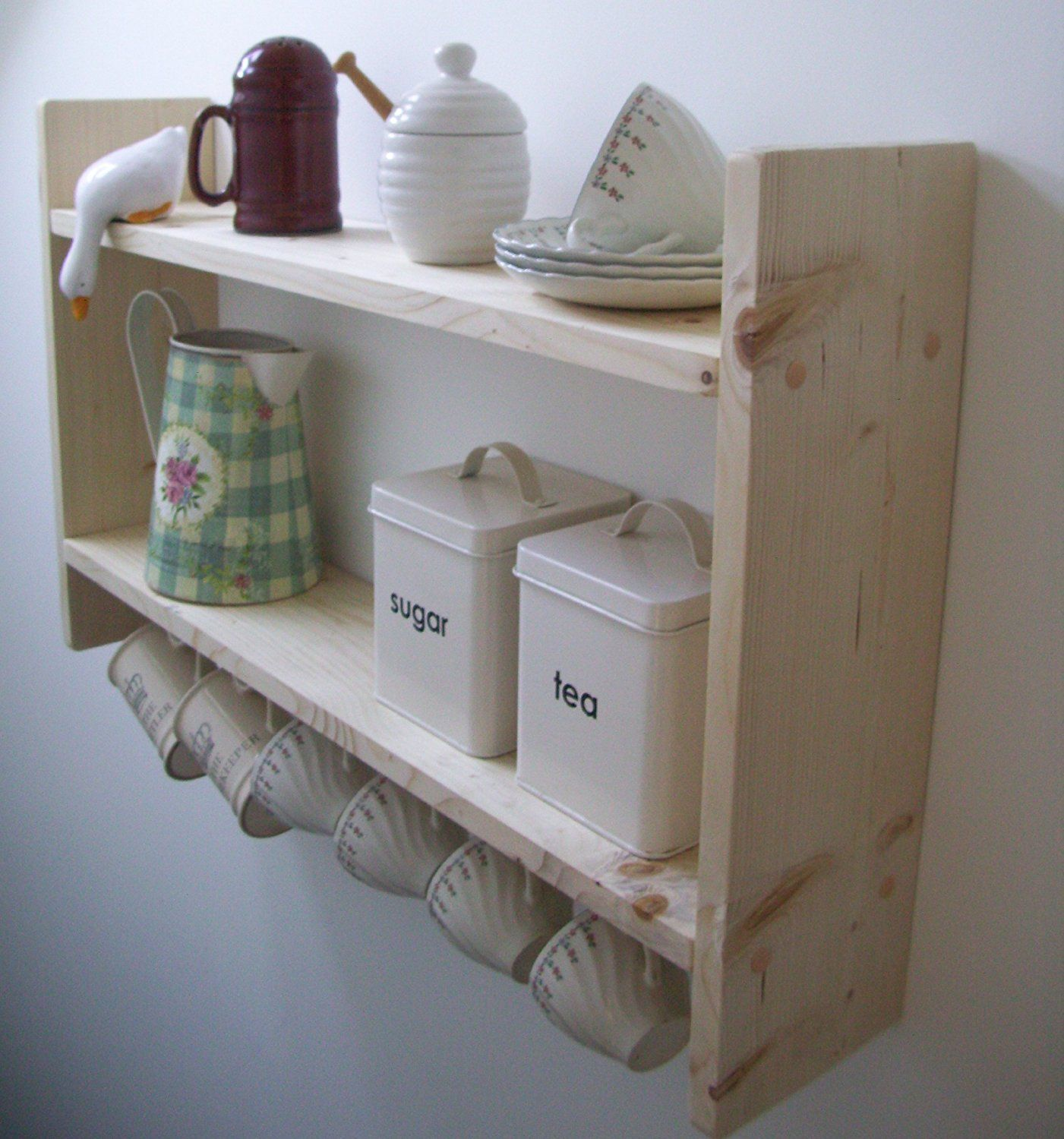 Superb Country Pine Shelves With Cup Hooks Spice Rack Kitchen