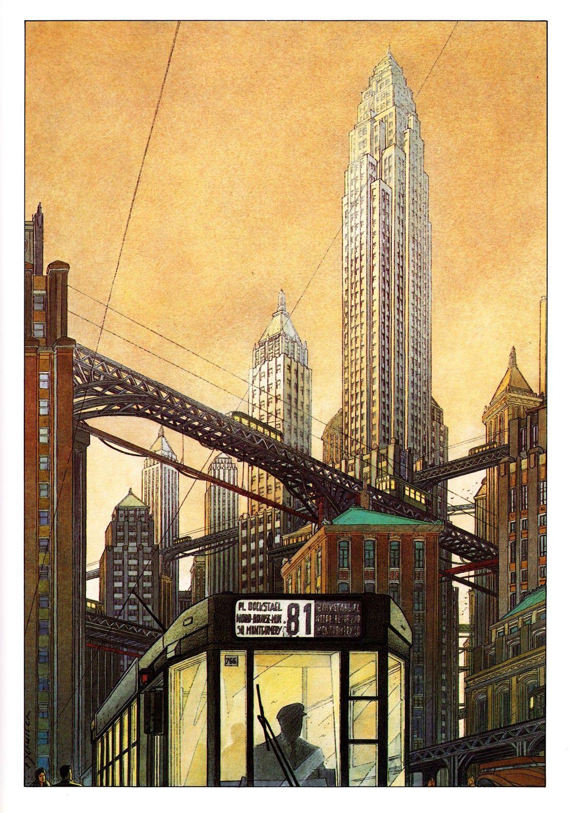 L Archiviste Ciudad Futurista Dibujo Urbano Metropoli
